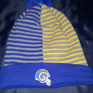 Blue and yellow striped cap